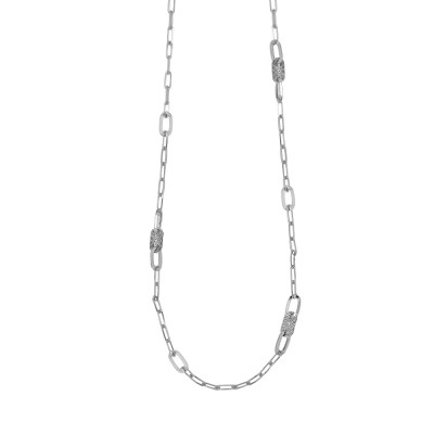 Long rhodium necklace with oval links and Swarovski
