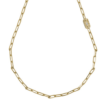 Yellow gold plated short necklace with small oval links and Swarovski