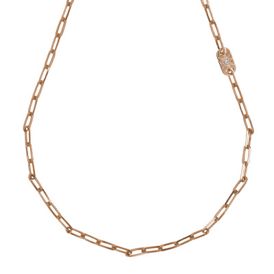Short necklace rose gold plated with small oval links and Swarovski