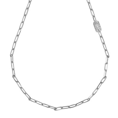 Rhodium-plated short necklace with small oval links and Swarovski