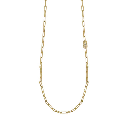 Yellow gold plated long necklace with small oval links and Swarovski