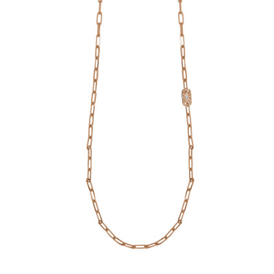 Long necklace, rose gold plated with small oval links and Swarovski