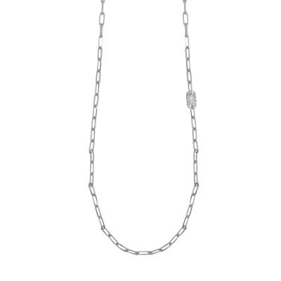 Long rhodium-plated necklace with small oval links and Swarovski