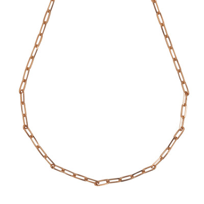 Short necklace rose gold plated with small oval links