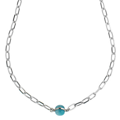 Chain necklace with floating blue cabochon