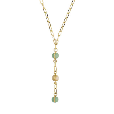 Tie necklace with green and beige cabochon