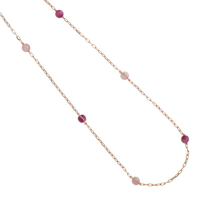 Long necklace with large pink and fuchsia quartz cabochons