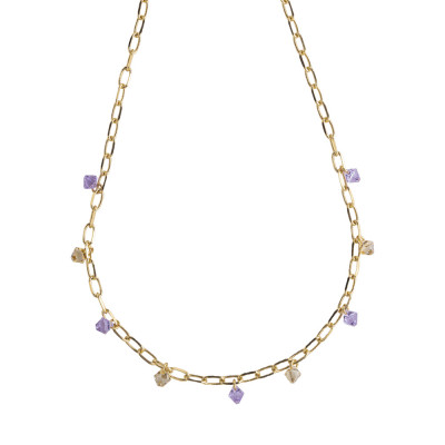 Chain necklace with Swarovski violet crystals and golden shadow