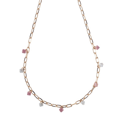 Chain necklace with light rose Swarovski crystals and crystal
