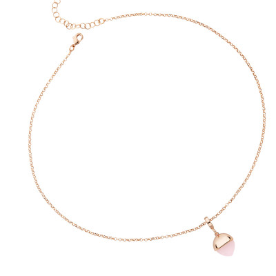 Rose gold plated necklace with rose quartz color crystal