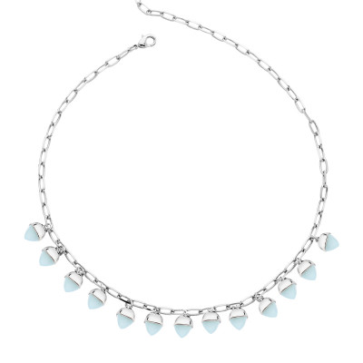 Necklace with aquamarine pyramidal crystals
