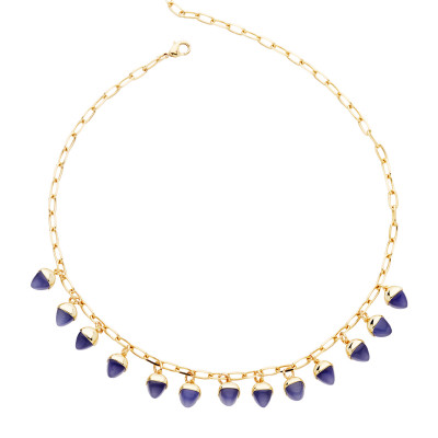 Necklace with tanzanite colored pyramidal crystals