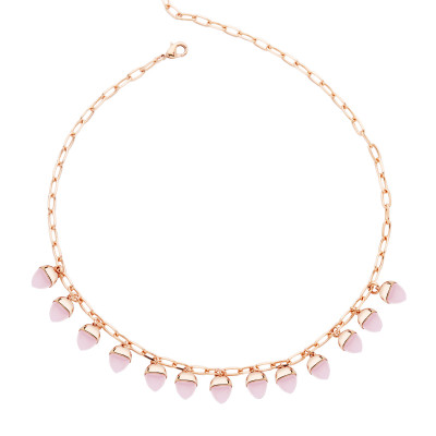 Necklace with pyramidal crystals in rose quartz