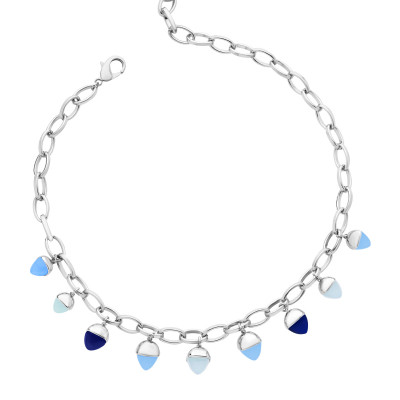 Necklace with tanzanite and aquamarine colored pyramidal crystals