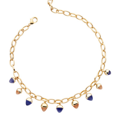 Necklace with tanzanite and carnelian colored pyramidal crystals