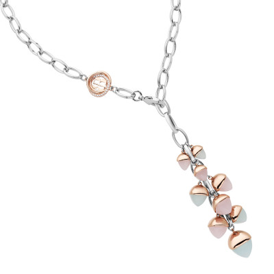 Y necklace with rose quartz and aquamarine crystal pendant