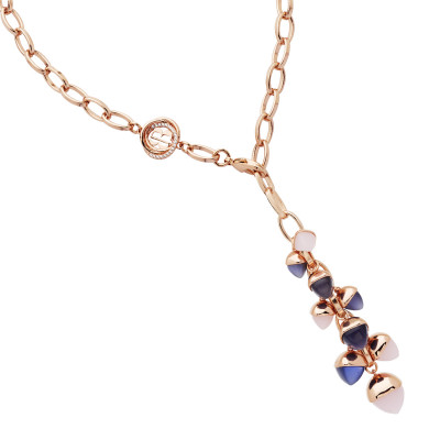Y necklace with rose quartz and tanzanite crystal pendant