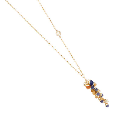 Necklace with cluster of tanzanite, carnelian and moonstone colored crystals