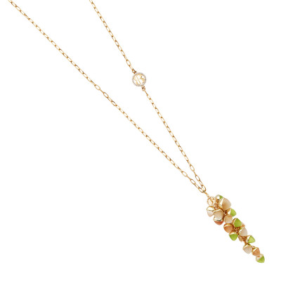 Necklace with cluster of olivine, carnelian and moonstone crystals
