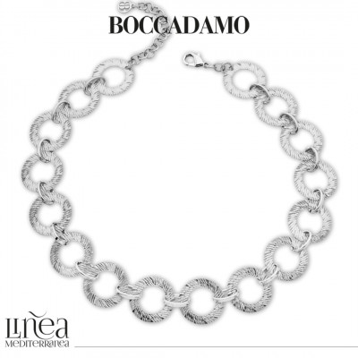 Rhodium-plated necklace with circular modules