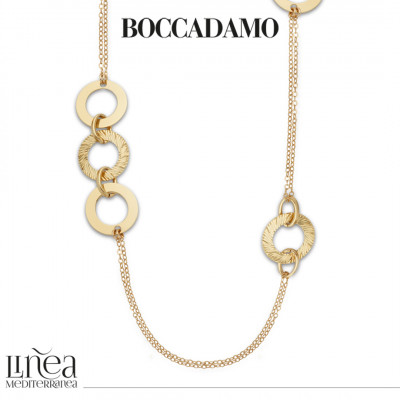 Long yellow gold-plated necklace with circular decorations
