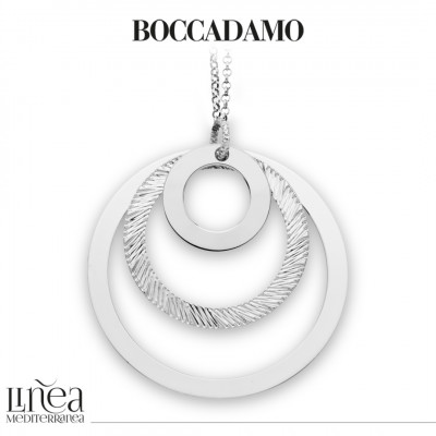 Long rhodium-plated necklace with concentric pendant