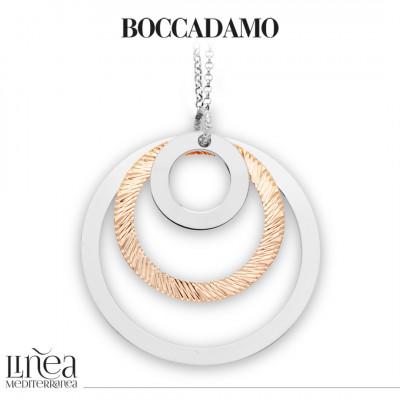 Long bicolor necklace with concentric pendant