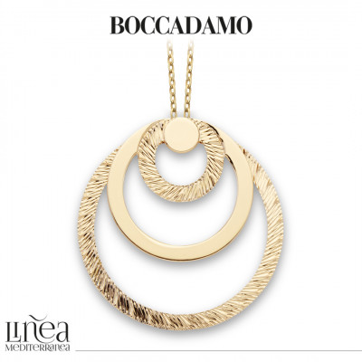 Yellow gold plated necklace with concentric maxi pendant