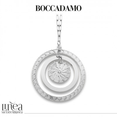 Rhodium plated necklace with maxi concentric pendant and Swarovski
