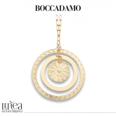 Yellow gold-plated necklace with maxi concentric pendant and Swarovski