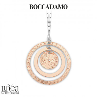 Two-tone necklace with maxi concentric pendant and Swarovski