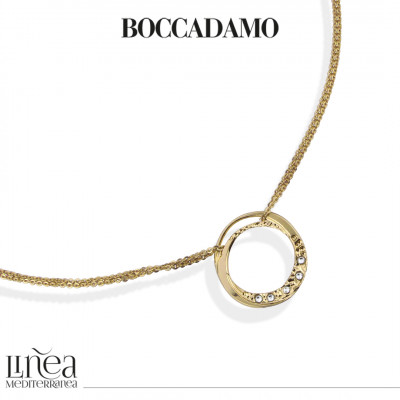 Yellow gold plated necklace with circular pendant and Swarovski