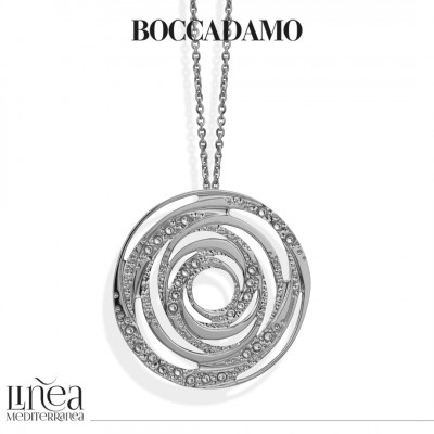 Necklace with concentric pendant and Swarovski