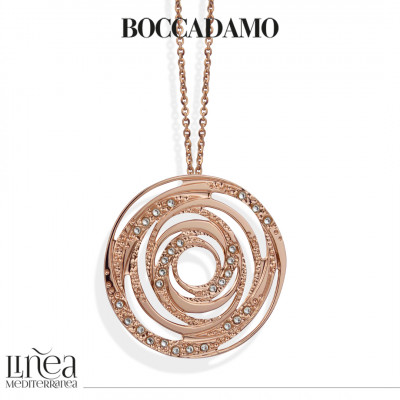 Rose gold plated necklace with concentric pendant and Swarovski