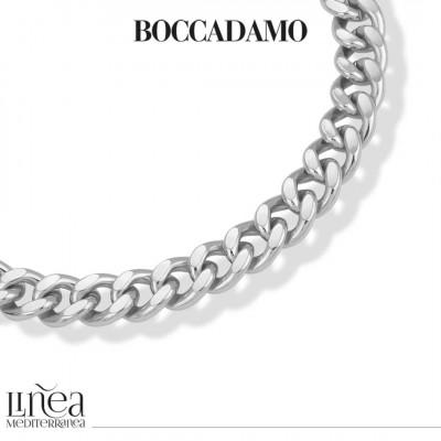 Silver medium curb necklace in beaten finish