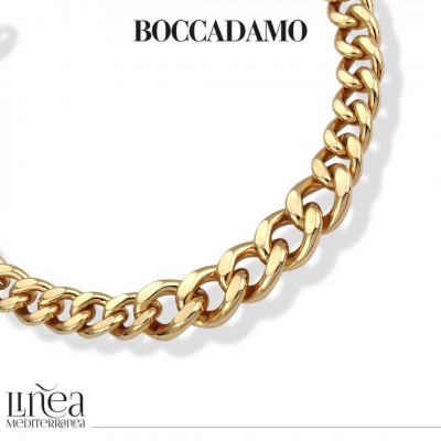 Degraded yellow gourmette bronze necklace