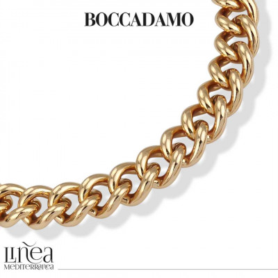 Big yellow bronze curb necklace