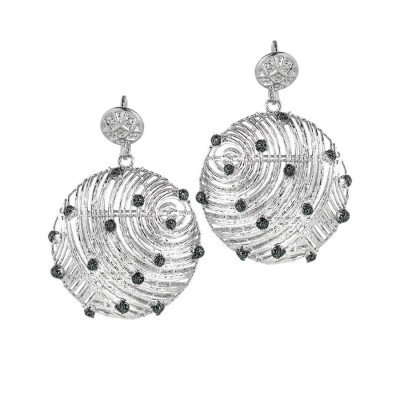Earrings with circular pendants and points of light in glitter