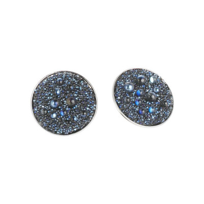 Earrings in the lobe surface with Swarovski galuchat moonlight