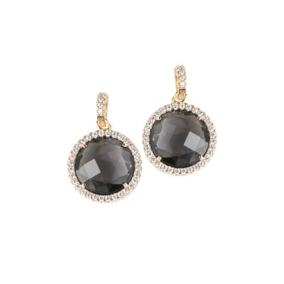 Pendant earrings with crystals smoky quartz and zircons