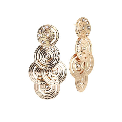 Cluster Earrings Gold Plated yellow from the drawing concentric and Swarovski