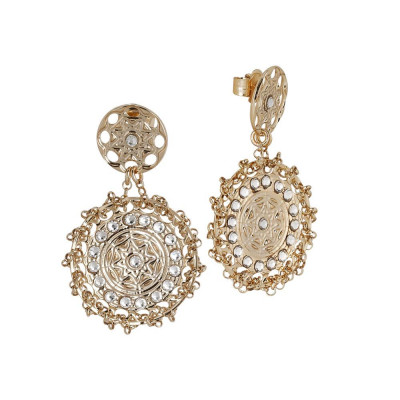 Earrings Gold Plated yellow with Etruscan decoration and Swarovski