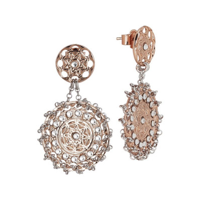 Earrings Gold plated pink with Etruscan decoration and Swarovski