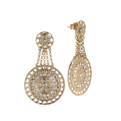Earrings Gold Plated yellow with chains and Etruscan pendant with Swarovski