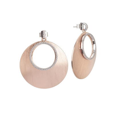 Pendant earrings gold plated pink effect scratched and zircons
