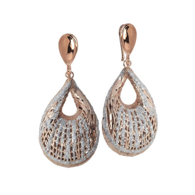 Earrings Gold plated pink with decoration to shell and glitter silver