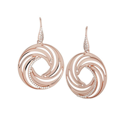 Plated Earrings Pink Gold pendant with circular   vortex and zircons