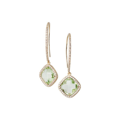 Earrings with hook monachella, crystal chrysolite and zircons