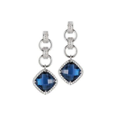 Earrings with crystal blue montana pendant and zircons