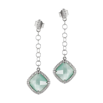 Earrings with pin of zircons and pendant green mint